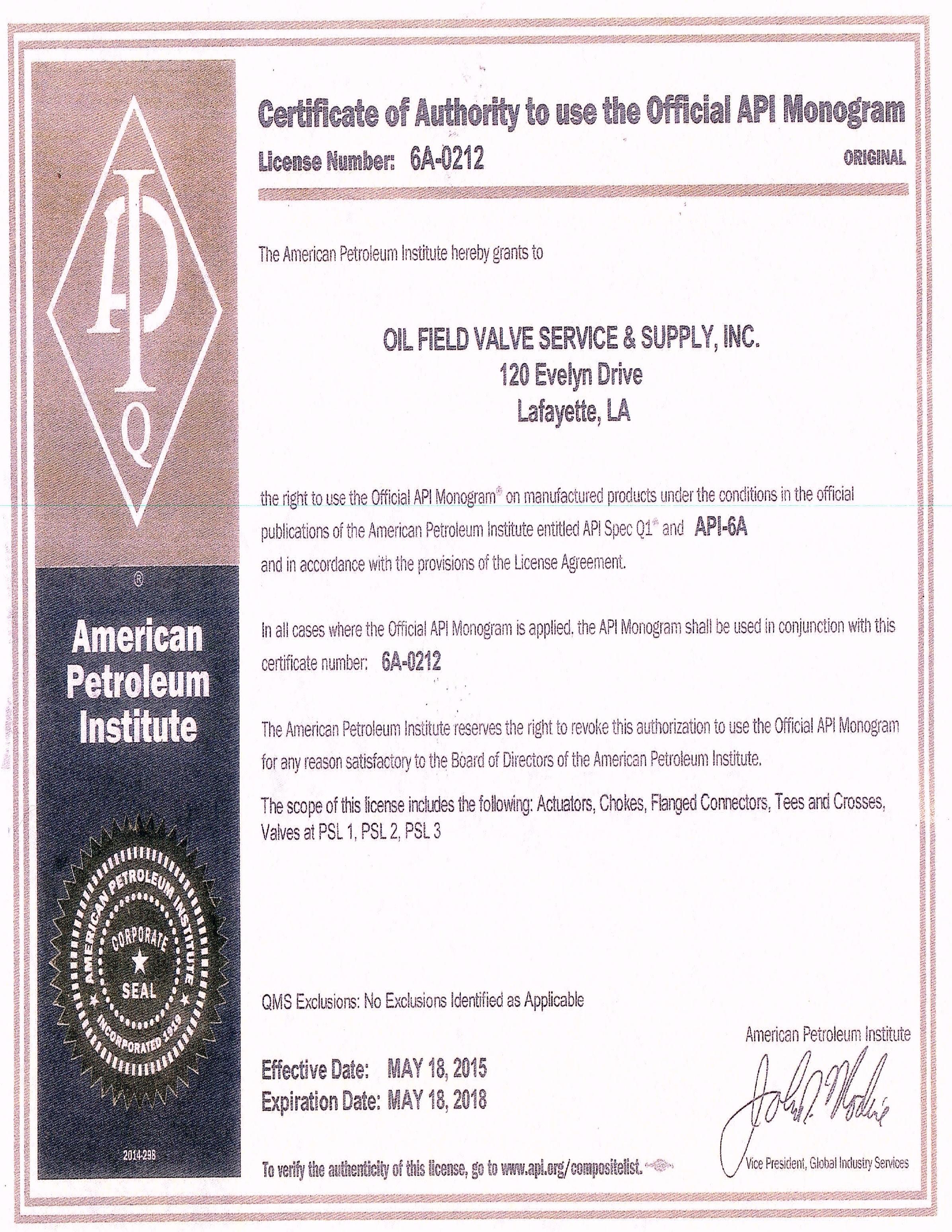 Oil Field Valve Service Supply Api License